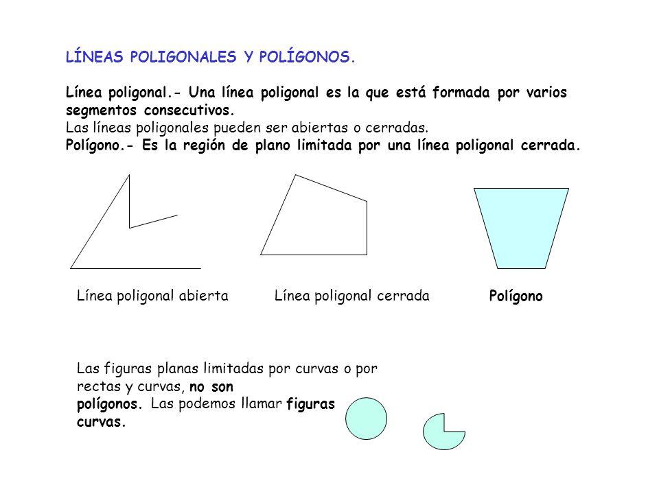 LÍNEAS POLIGONALES Y POLÍGONOS. Línea poligonal.- Una línea poligonal es la que está formada por varios segmentos consecutivos. Las líneas poligonales