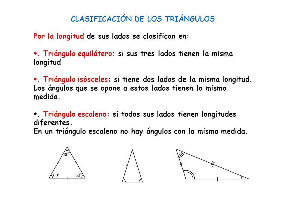 CLASIFICACIÓN DE LOS TRIÁNGULOS Por la longitud de sus lados se clasifican en: . Triángulo equilátero: si sus tres lados tienen la misma longitud .