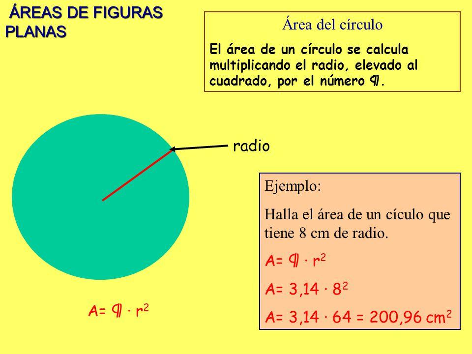ÁREAS DE FIGURAS PLANAS ÁREAS DE FIGURAS PLANAS Área del círculo El área de un círculo se calcula multiplicando el radio, elevado al cuadrado, por el