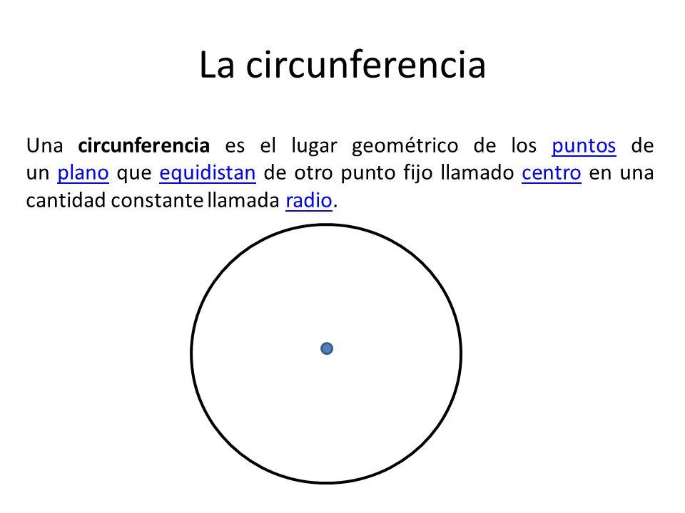 La circunferencia Una circunferencia es el lugar geométrico de los puntos de un plano que equidistan de otro punto fijo llamado centro en una cantidad constante llamada radio.puntosplanoequidistancentroradio