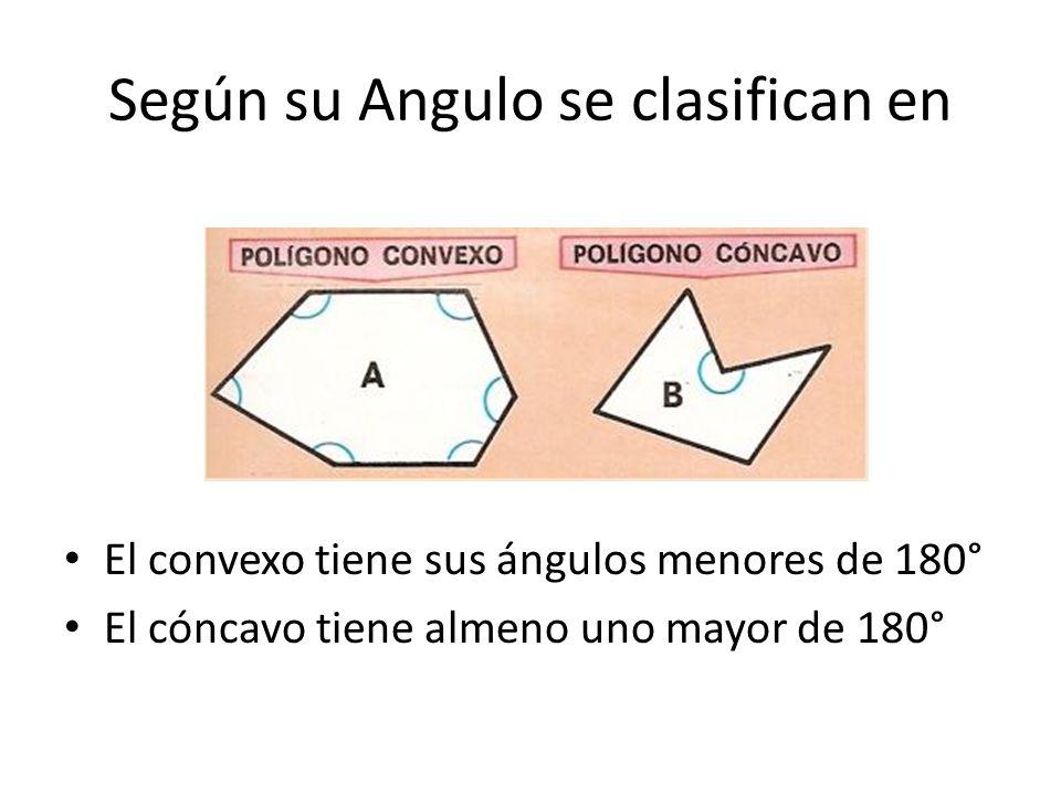 Según su Angulo se clasifican en El convexo tiene sus ángulos menores de 180° El cóncavo tiene almeno uno mayor de 180°