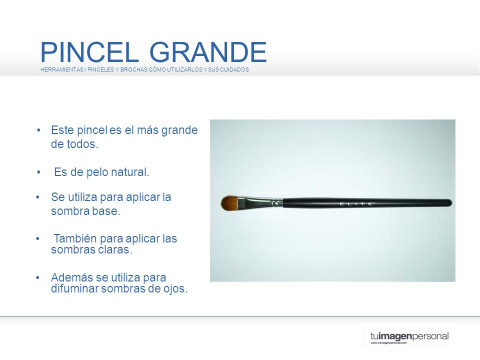 PINCEL INTERMEDIO HERRAMIENTAS / PINCELES Y BROCHAS CÓMO UTILIZARLOS Y SUS CUIDADOS Este pincel es de tamaño intermedio.