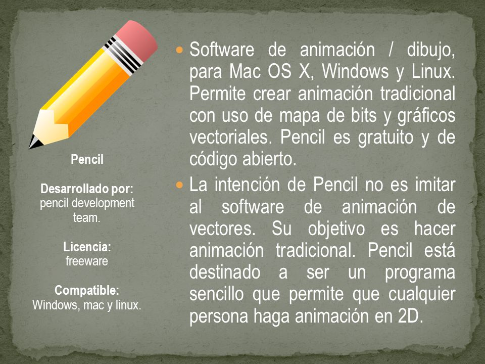 Software de animación / dibujo, para Mac OS X, Windows y Linux.