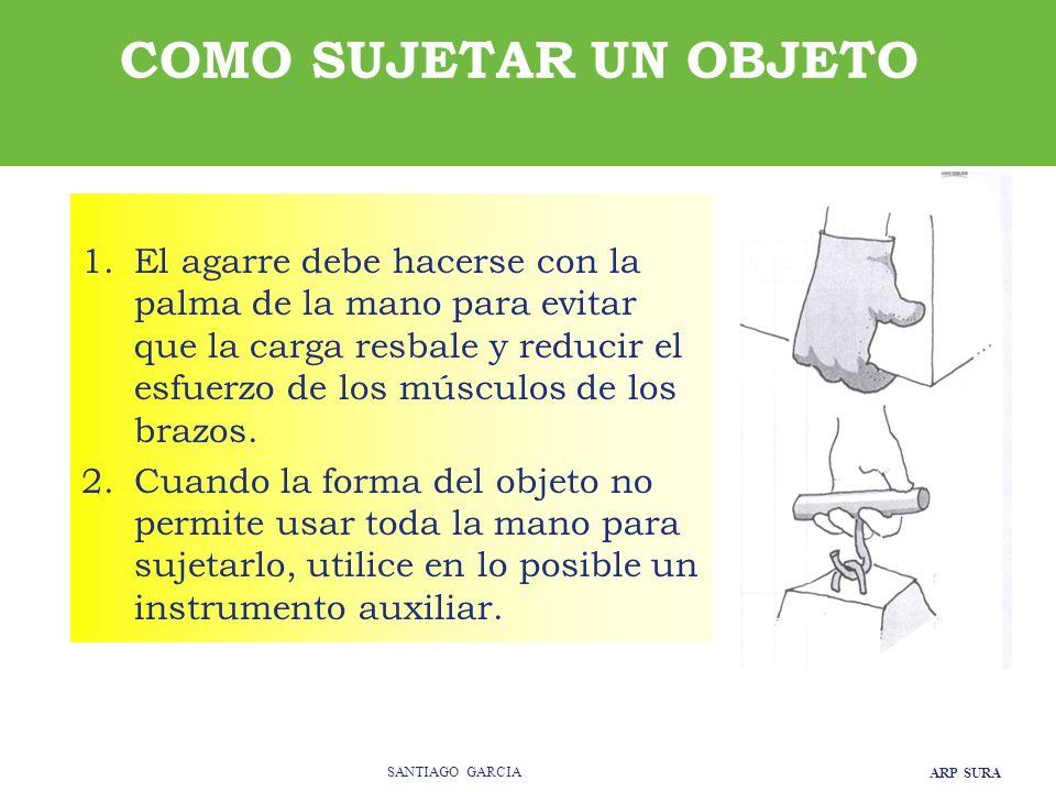 ARP SURA SANTIAGO GARCIA 1.El agarre debe hacerse con la palma de la mano para evitar que la carga resbale y reducir el esfuerzo de los músculos de los brazos.