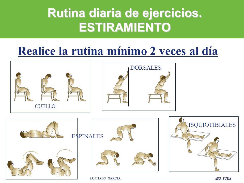 ARP SURA SANTIAGO GARCIA CUELLO DORSALES ISQUIOTIBIALES ESPINALES Realice la rutina mínimo 2 veces al día Rutina diaria de ejercicios.