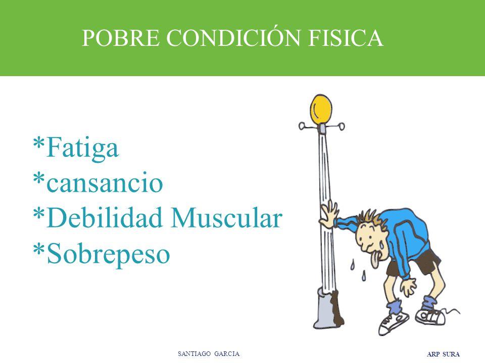 ARP SURA SANTIAGO GARCIA *Fatiga *cansancio *Debilidad Muscular *Sobrepeso POBRE CONDICIÓN FISICA