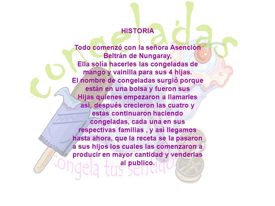 HISTORIA Todo comenzó con la señora Asenciòn Beltrán de Nungaray, Ella solía hacerles las congeladas de mango y vainilla para sus 4 hijas. El nombre d