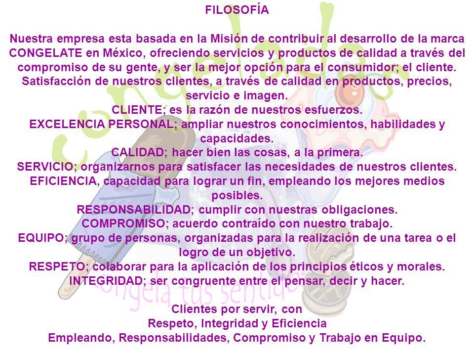 FILOSOFÍA Nuestra empresa esta basada en la Misión de contribuir al desarrollo de la marca CONGELATE en México, ofreciendo servicios y productos de ca