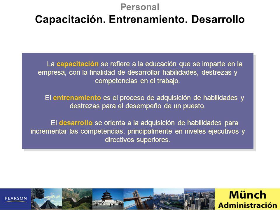 Personal Capacitación. Entrenamiento. Desarrollo La capacitación se refiere a la educación que se imparte en la empresa, con la finalidad de desarroll
