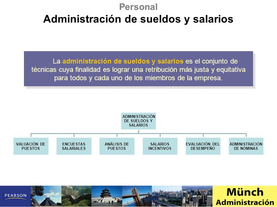 La administración de sueldos y salarios es el conjunto de técnicas cuya finalidad es lograr una retribución más justa y equitativa para todos y cada uno de los miembros de la empresa.