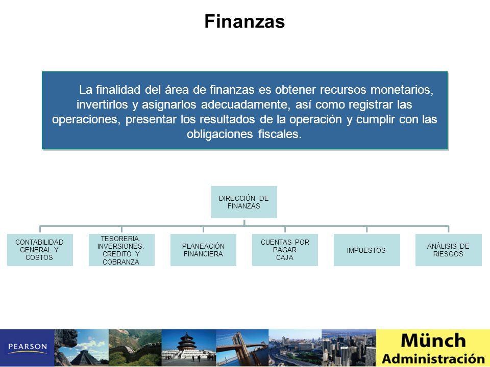 La finalidad del área de finanzas es obtener recursos monetarios, invertirlos y asignarlos adecuadamente, así como registrar las operaciones, presentar los resultados de la operación y cumplir con las obligaciones fiscales.