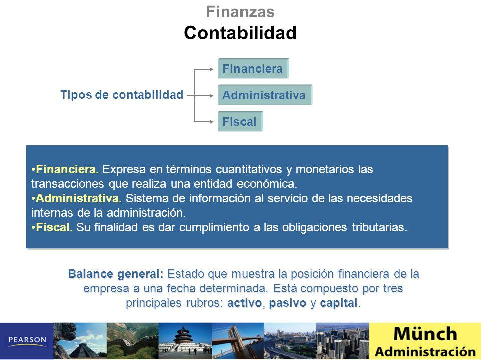 Financiera. Expresa en términos cuantitativos y monetarios las transacciones que realiza una entidad económica. Administrativa. Sistema de información