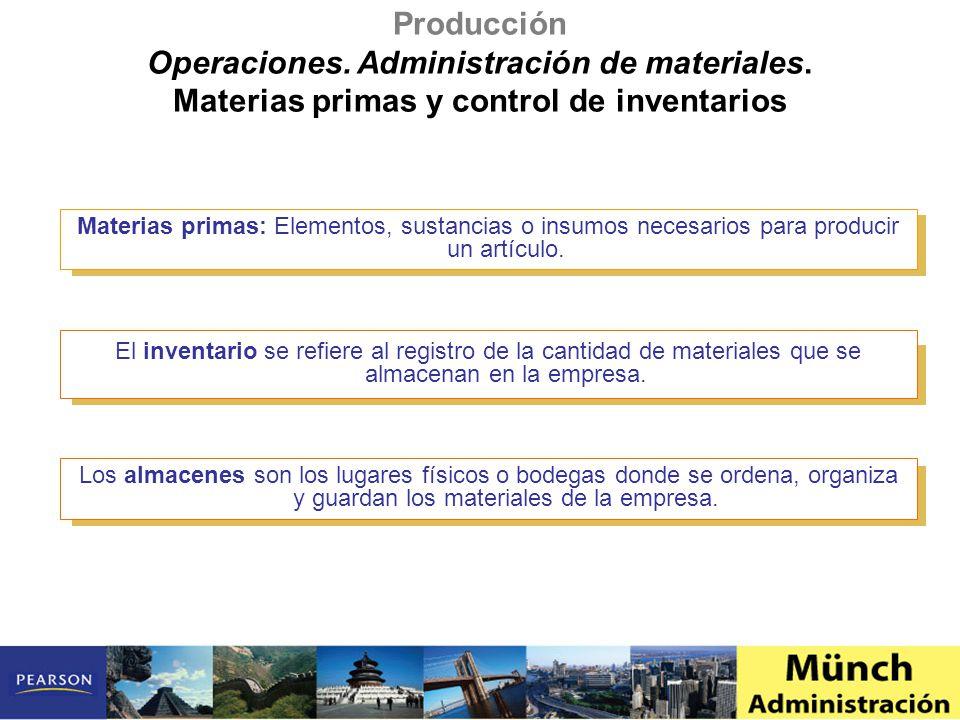Materias primas: Elementos, sustancias o insumos necesarios para producir un artículo. El inventario se refiere al registro de la cantidad de material