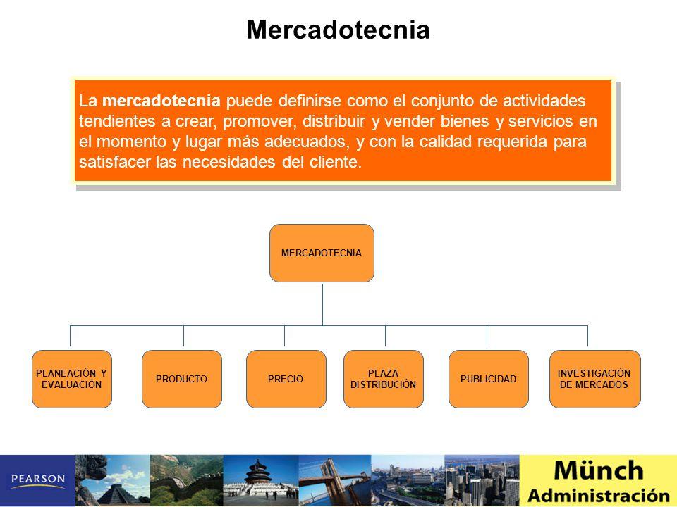 La mercadotecnia puede definirse como el conjunto de actividades tendientes a crear, promover, distribuir y vender bienes y servicios en el momento y