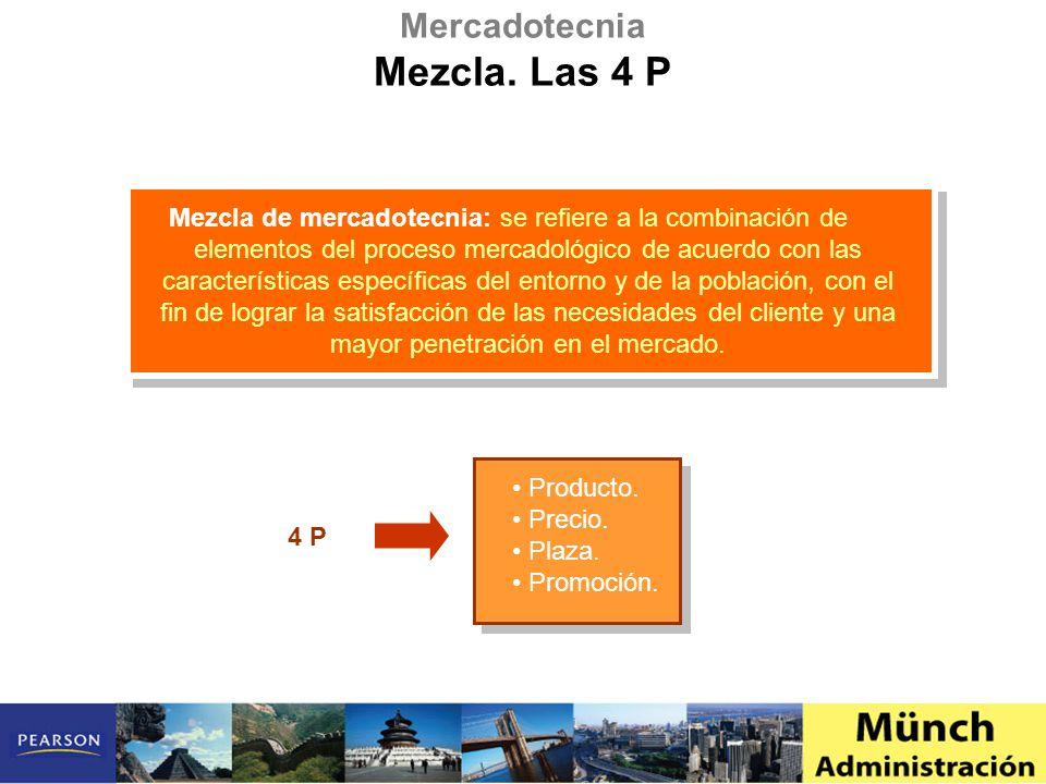 Mezcla de mercadotecnia: se refiere a la combinación de elementos del proceso mercadológico de acuerdo con las características específicas del entorno