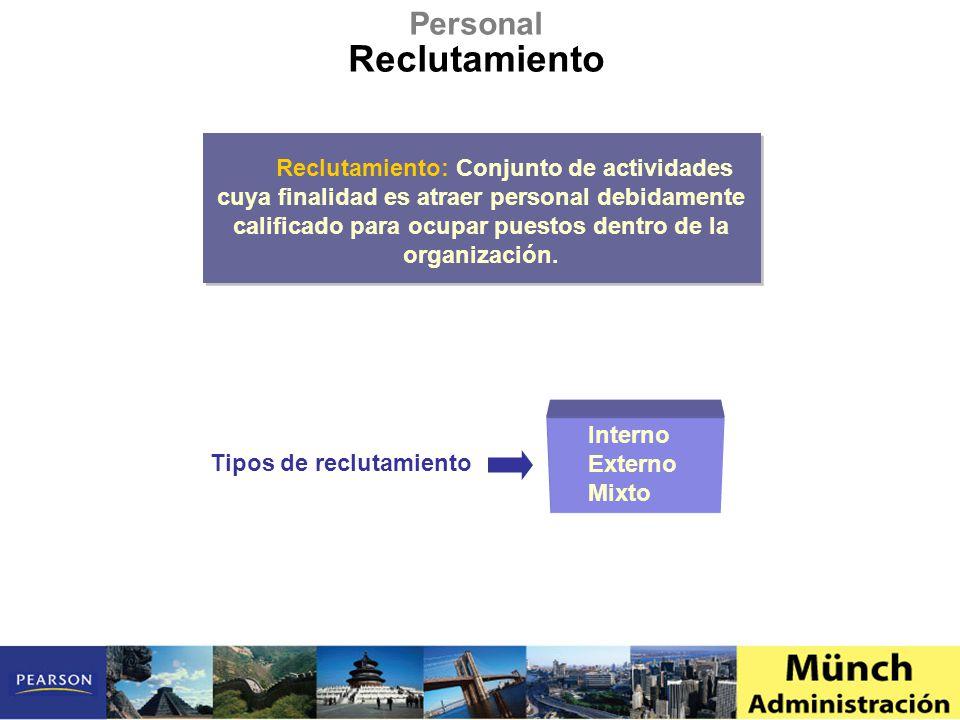 Personal Reclutamiento Reclutamiento: Conjunto de actividades cuya finalidad es atraer personal debidamente calificado para ocupar puestos dentro de la organización.