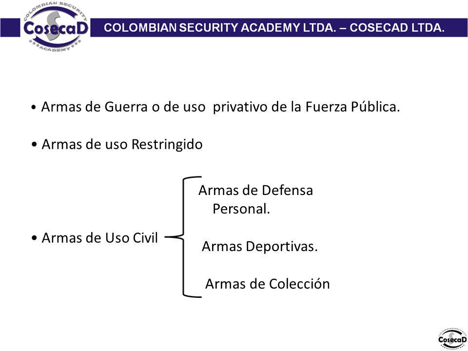 Armas de Guerra o de uso privativo de la Fuerza Pública.