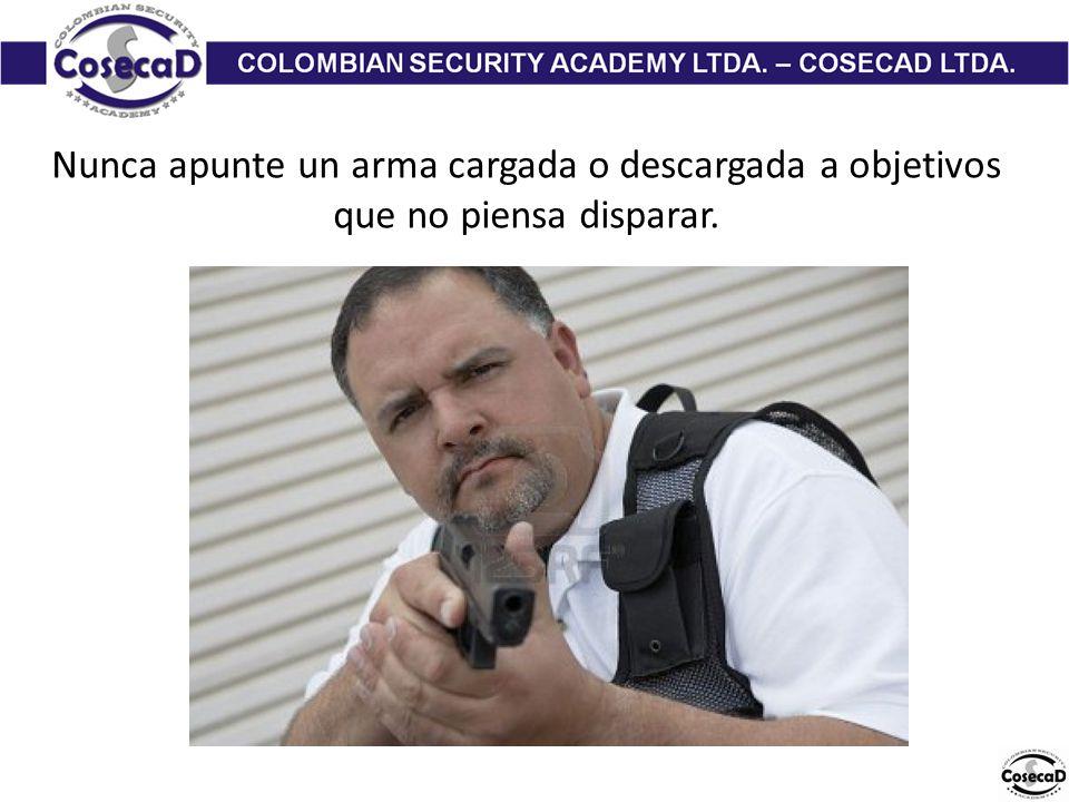 Nunca apunte un arma cargada o descargada a objetivos que no piensa disparar.