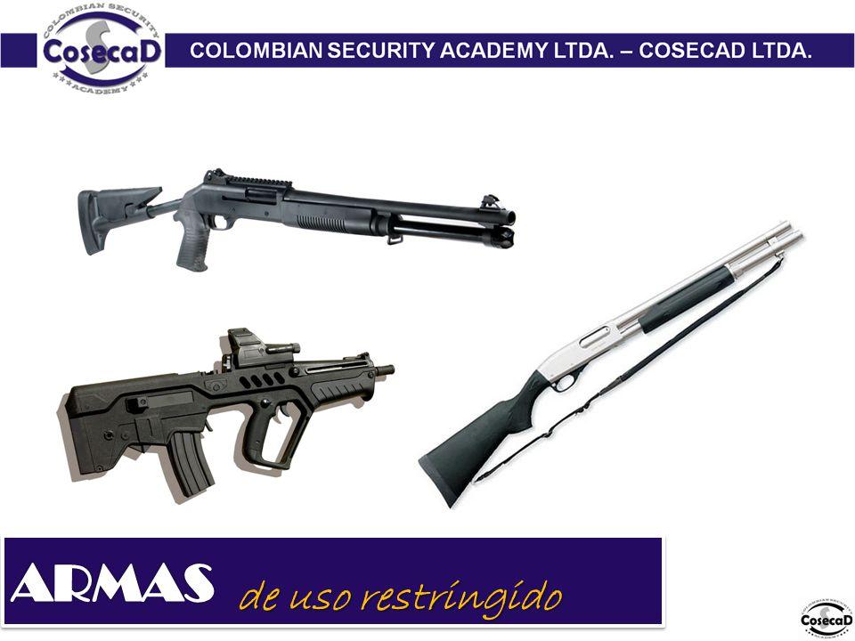 Son armas de guerra o de uso privativo de la fuerza pública, que de manera excepcional, pueden ser autorizadas con base en la facultad discrecional de la autoridad competente, para defensa personal especial, tales como: 1.