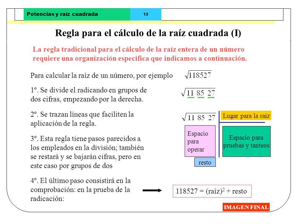 Potencias y raíz cuadrada 12Números 2001 - Matemáticas 1º ESO Cálculo de la raíz cuadrada por aproximaciones (II) IMAGEN FINAL Paso 2º: Buscar dos cua