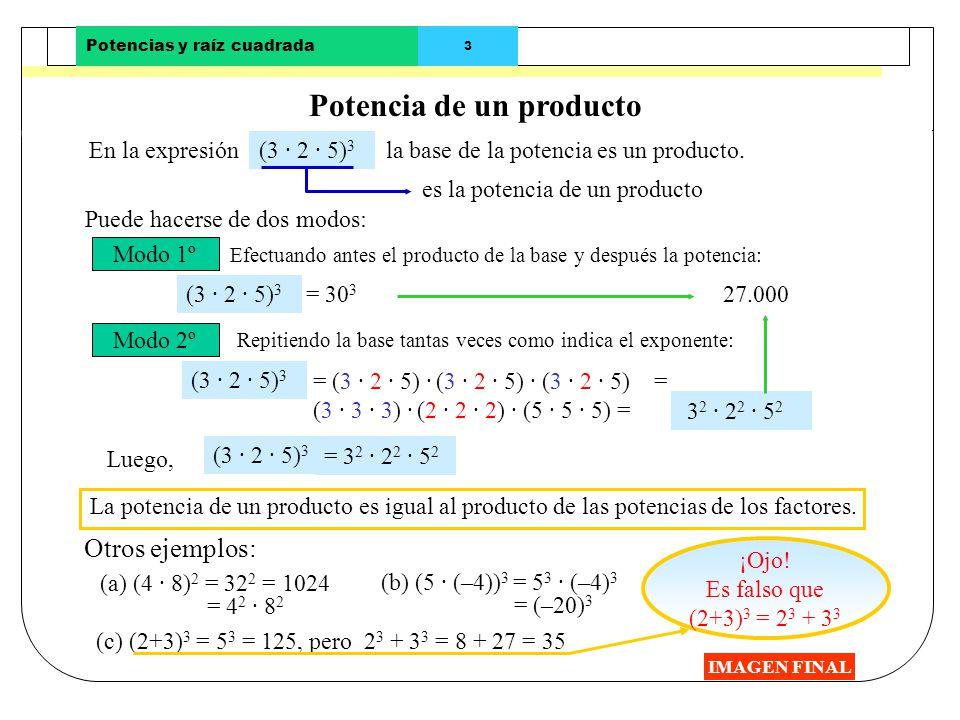 Potencias y raíz cuadrada 2 Potencias de base un número negativo IMAGEN FINAL Si la base es un número negativo: Las potencias de base negativa y expon