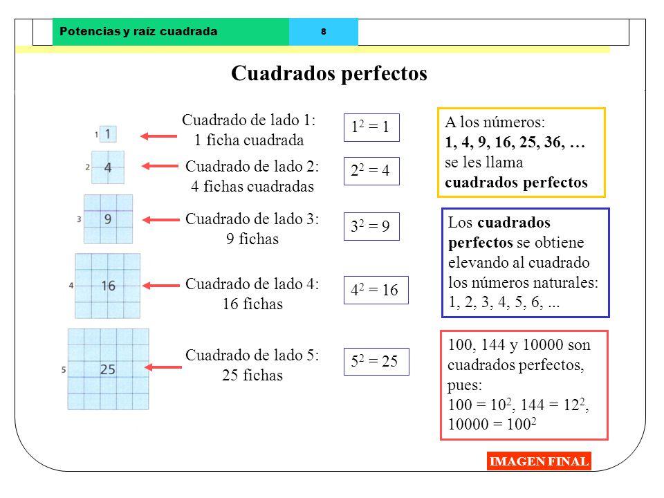 Potencias y raíz cuadrada 8 Cuadrados perfectos IMAGEN FINAL Cuadrado de lado 1: 1 ficha cuadrada Cuadrado de lado 2: 4 fichas cuadradas Cuadrado de l