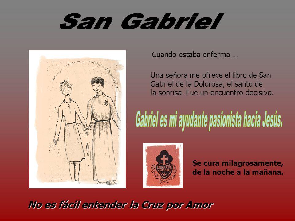Una señora me ofrece el libro de San Gabriel de la Dolorosa, el santo de la sonrisa.