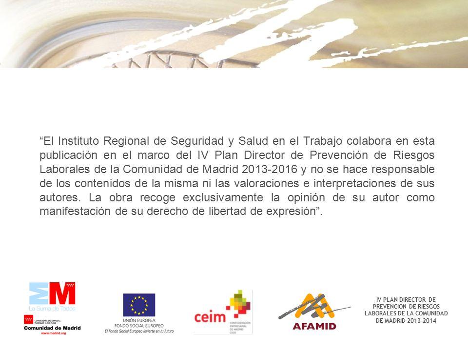 """IV PLAN DIRECTOR DE PREVENCION DE RIESGOS LABORALES DE LA COMUNIDAD DE MADRID 2013-2014 """"El Instituto Regional de Seguridad y Salud en el Trabajo cola"""