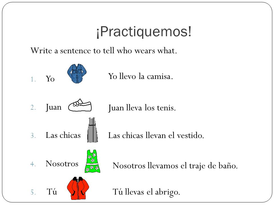 ¡Practiquemos. Write a sentence to tell who wears what.