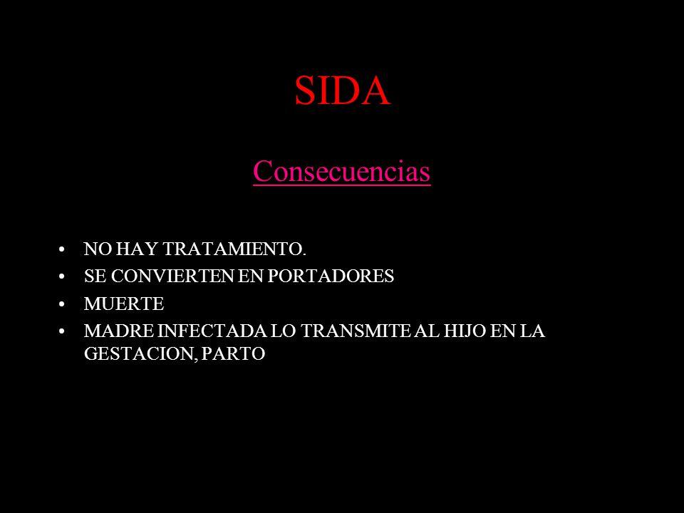 SIDA Consecuencias NO HAY TRATAMIENTO. SE CONVIERTEN EN PORTADORES MUERTE MADRE INFECTADA LO TRANSMITE AL HIJO EN LA GESTACION, PARTO