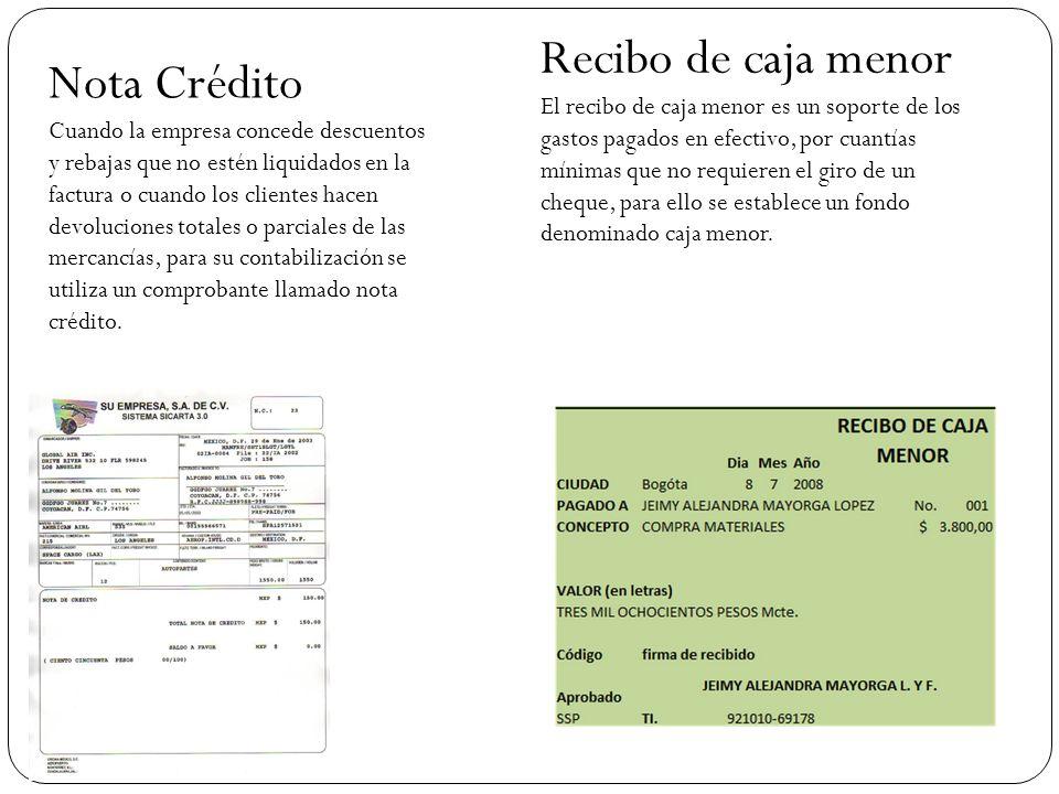 Nota Crédito Cuando la empresa concede descuentos y rebajas que no estén liquidados en la factura o cuando los clientes hacen devoluciones totales o parciales de las mercancías, para su contabilización se utiliza un comprobante llamado nota crédito.