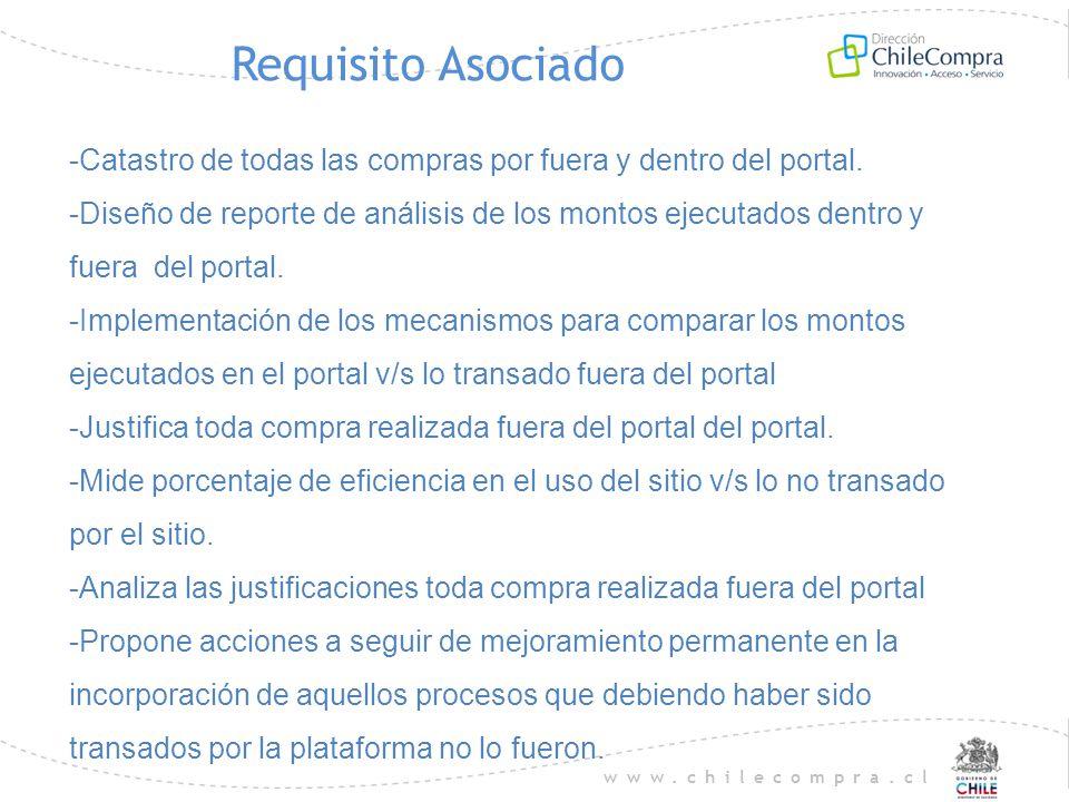 www.chilecompra.cl Requisito Asociado -Catastro de todas las compras por fuera y dentro del portal. -Diseño de reporte de análisis de los montos ejecu
