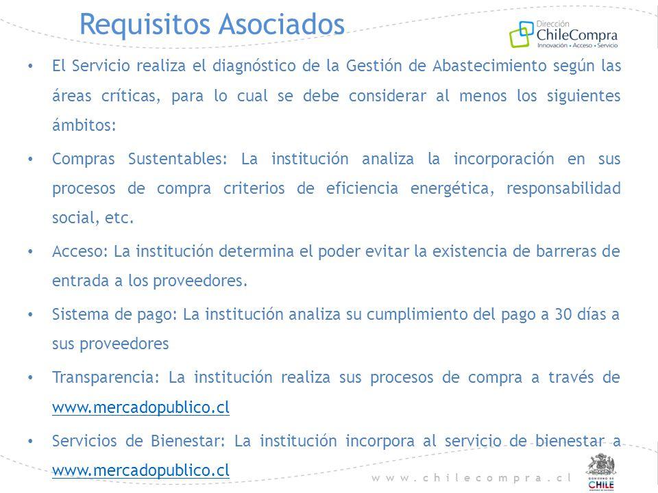 www.chilecompra.cl Requisitos Asociados El Servicio realiza el diagnóstico de la Gestión de Abastecimiento según las áreas críticas, para lo cual se d
