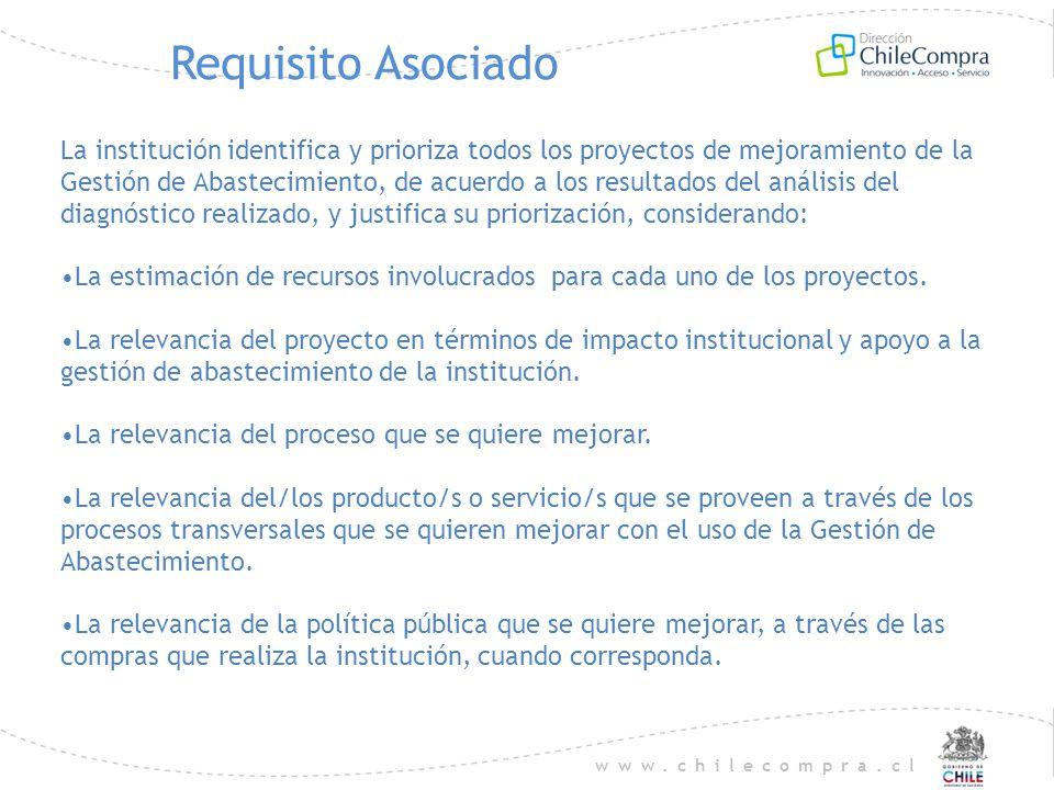 www.chilecompra.cl Requisito Asociado La institución identifica y prioriza todos los proyectos de mejoramiento de la Gestión de Abastecimiento, de acu