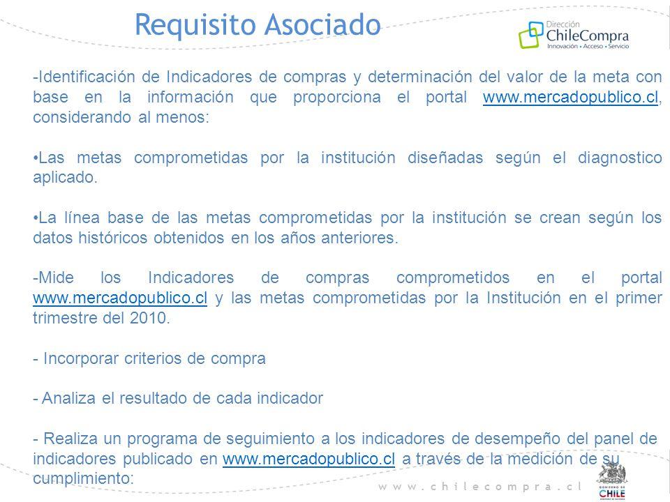 www.chilecompra.cl Requisito Asociado -Identificación de Indicadores de compras y determinación del valor de la meta con base en la información que pr