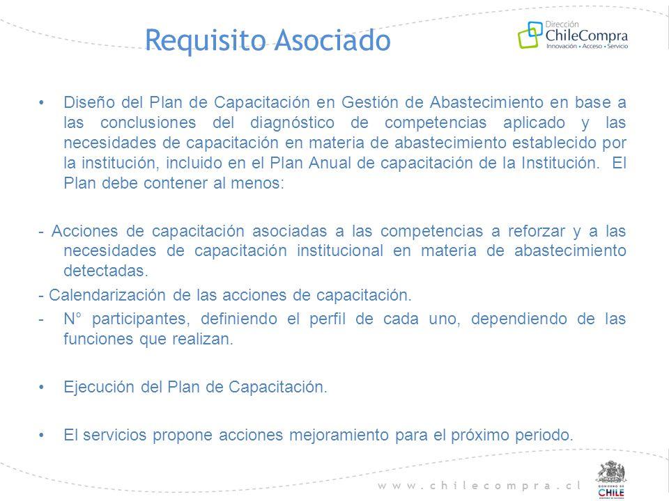 www.chilecompra.cl Requisito Asociado Diseño del Plan de Capacitación en Gestión de Abastecimiento en base a las conclusiones del diagnóstico de compe