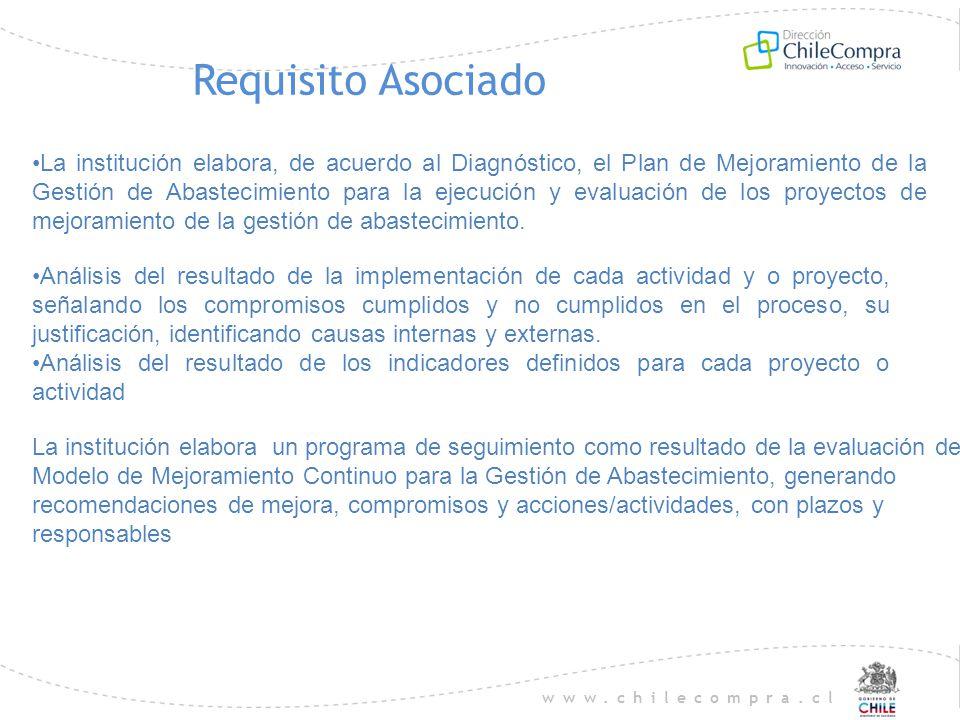 www.chilecompra.cl Requisito Asociado La institución elabora, de acuerdo al Diagnóstico, el Plan de Mejoramiento de la Gestión de Abastecimiento para