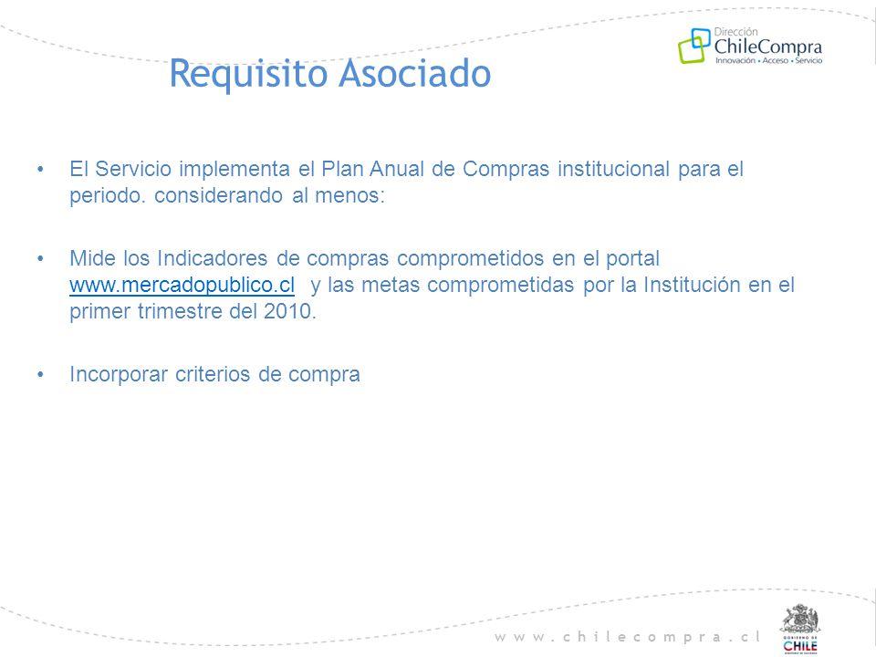 www.chilecompra.cl Requisito Asociado El Servicio implementa el Plan Anual de Compras institucional para el periodo. considerando al menos: Mide los I