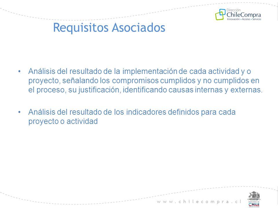 www.chilecompra.cl Requisitos Asociados Análisis del resultado de la implementación de cada actividad y o proyecto, señalando los compromisos cumplido