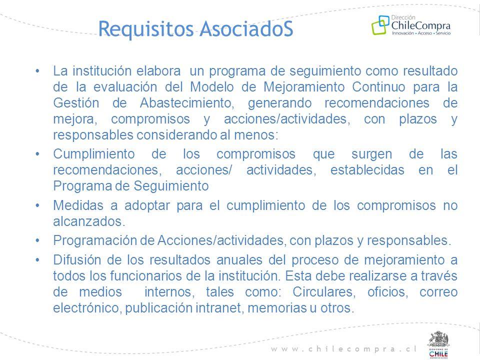 www.chilecompra.cl Requisitos AsociadoS La institución elabora un programa de seguimiento como resultado de la evaluación del Modelo de Mejoramiento C