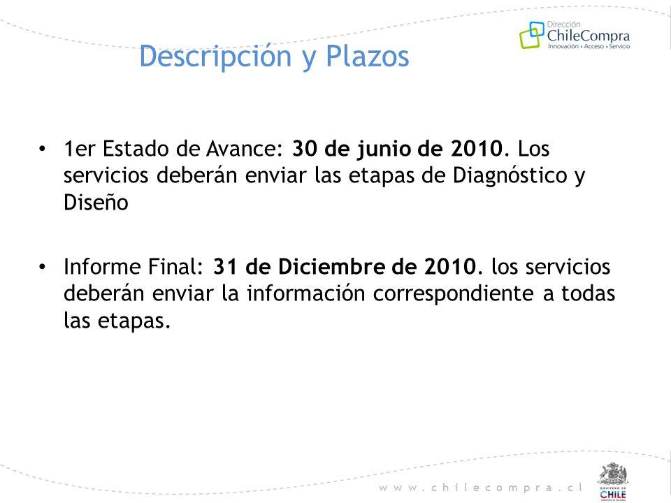 www.chilecompra.cl Descripción y Plazos 1er Estado de Avance: 30 de junio de 2010. Los servicios deberán enviar las etapas de Diagnóstico y Diseño Inf