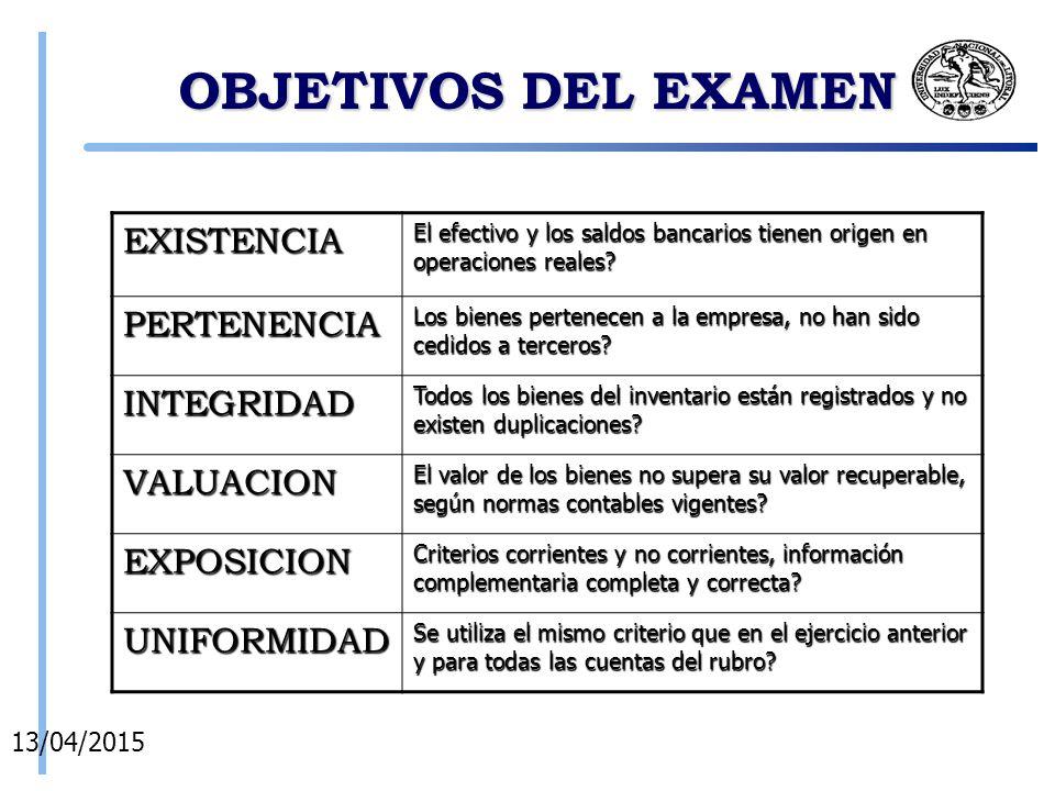 OBJETIVOS DEL EXAMEN 14/04/2015 EXISTENCIA El efectivo y los saldos bancarios tienen origen en operaciones reales.