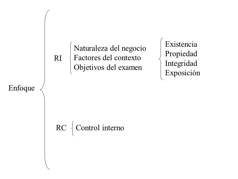 Enfoque RI RC Naturaleza del negocio Factores del contexto Objetivos del examen Existencia Propiedad Integridad Exposición Control interno