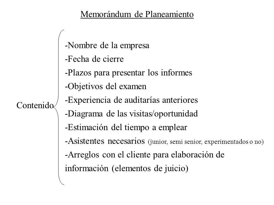 Memorándum de Planeamiento Contenido -Nombre de la empresa -Fecha de cierre -Plazos para presentar los informes -Objetivos del examen -Experiencia de