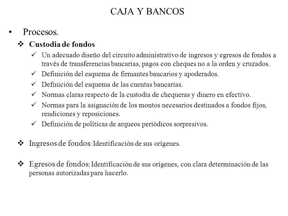 CAJA Y BANCOS Procesos.  Custodia de fondos Un adecuado diseño del circuito administrativo de ingresos y egresos de fondos a través de transferencias