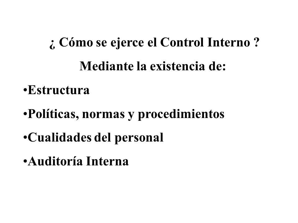 ¿ Cómo se ejerce el Control Interno ? Mediante la existencia de: Estructura Políticas, normas y procedimientos Cualidades del personal Auditoría Inter