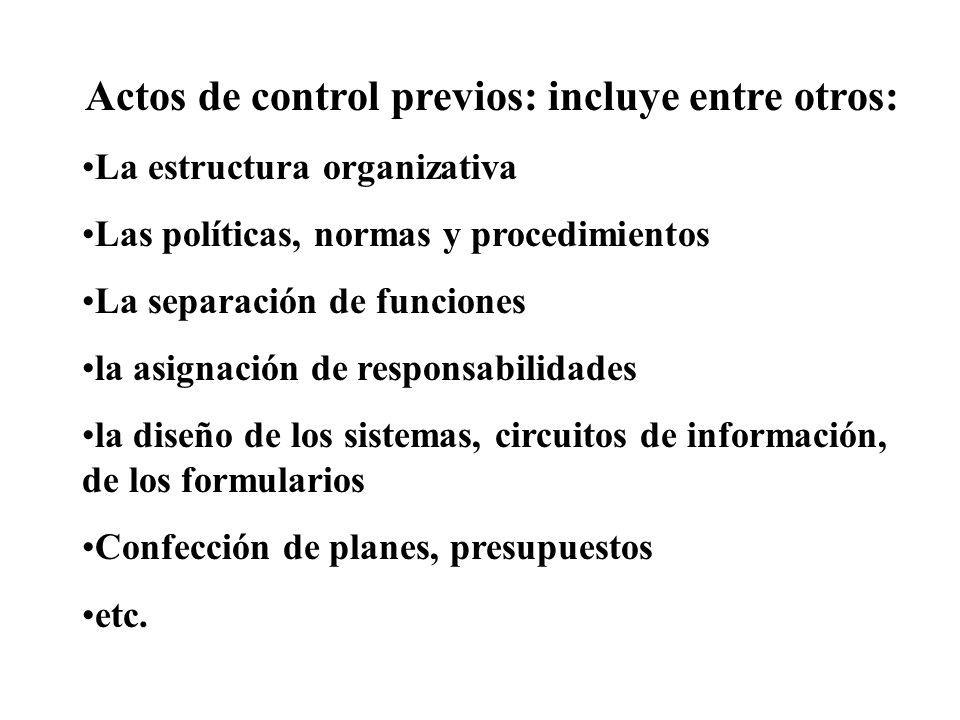 Actos de control previos: incluye entre otros: La estructura organizativa Las políticas, normas y procedimientos La separación de funciones la asignac