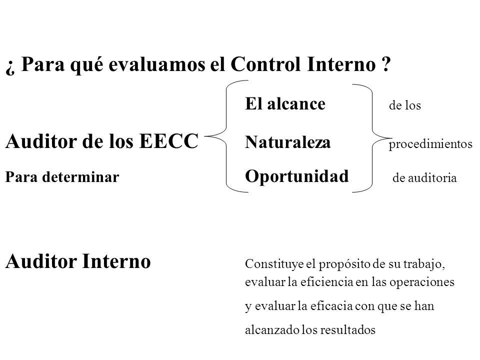 ¿ Para qué evaluamos el Control Interno ? El alcance de los Auditor de los EECC Naturaleza procedimientos Para determinar Oportunidad de auditoria Aud