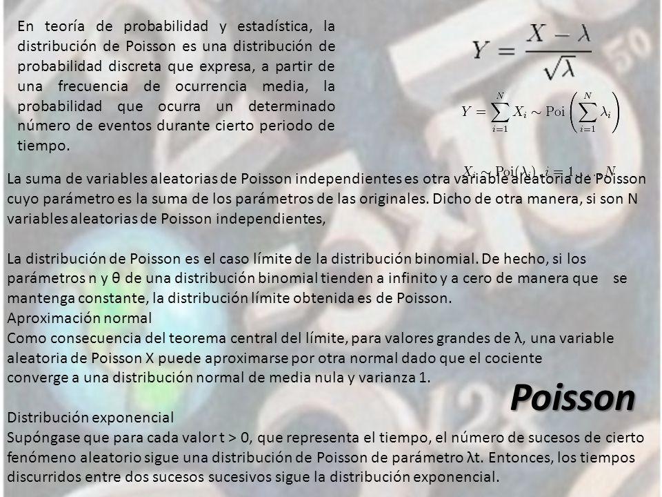 Poisson En teoría de probabilidad y estadística, la distribución de Poisson es una distribución de probabilidad discreta que expresa, a partir de una frecuencia de ocurrencia media, la probabilidad que ocurra un determinado número de eventos durante cierto periodo de tiempo.