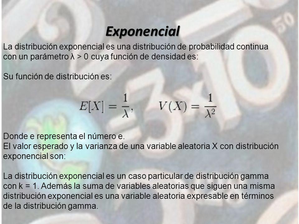 Exponencial La distribución exponencial es una distribución de probabilidad continua con un parámetro λ > 0 cuya función de densidad es: Su función de distribución es: Donde e representa el número e.